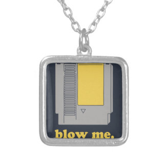 Blow me silver plated necklace