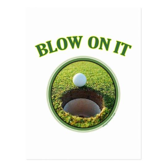 Blow On It Golf Postcard