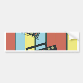 Blow your speakers - awesome  retro boombox bumper sticker
