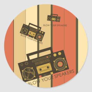 Blow your speakers - awesome retro boombox classic round sticker