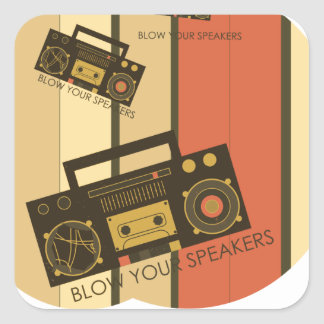 Blow your speakers - awesome retro boombox square sticker