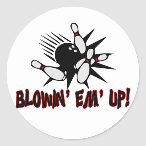 Blowin Em Up Bowling Pins Classic Round Sticker