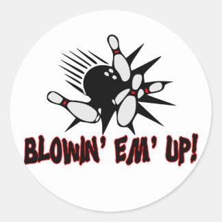 Blowin Em Up Bowling Pins Classic Round Sticker