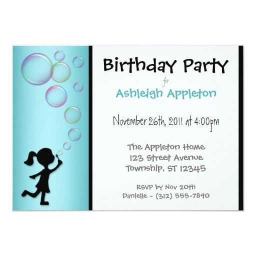 Blowing Bubbles Aqua Birthday Invitations