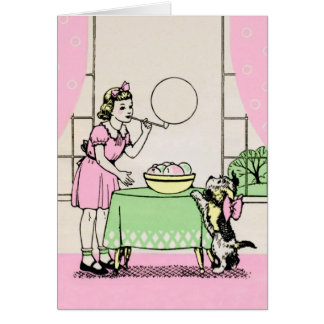 Blowing Bubbles - Art Deco illustration Card