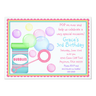 Blowing Bubbles BIrthday Invitations