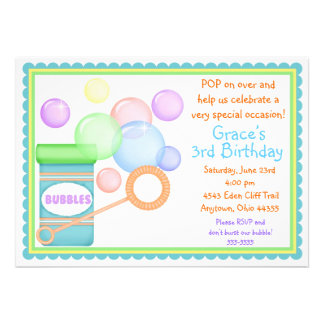 Blowing Bubbles BOY BIrthday Invitations