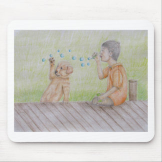 Blowing bubbles mouse pad