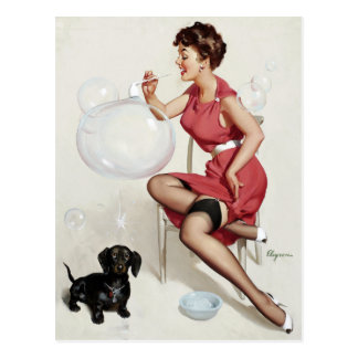 Blowing Bubbles Pin Up Postcard