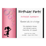 Blowing Bubbles Pink Birthday Invitations