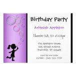 Blowing Bubbles Purple Birthday Invitations