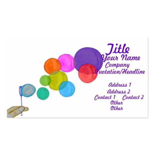 Blowing Bubbles (Rainbow) Business Card Template