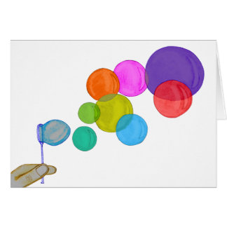 Blowing Bubbles (Rainbow) Greeting Card