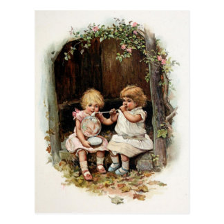 Blowing Bubbles Vintage Girls Post Card