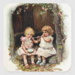 Blowing Bubbles Vintage Girls Square Sticker