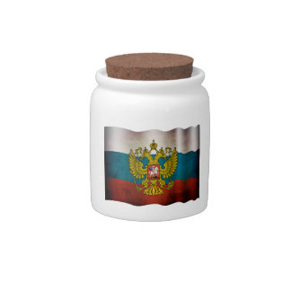 Blowing flag of Russia Candy Dishes