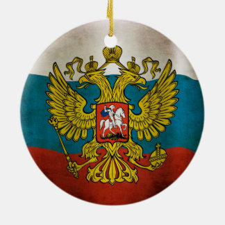 Blowing flag of Russia Ceramic Ornament