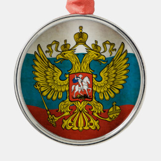 Blowing flag of Russia Metal Ornament