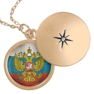 Blowing flag of Russia Lockets