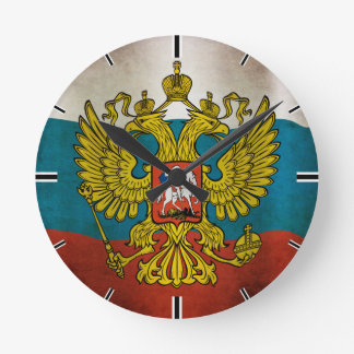 Blowing flag of Russia Round Clock