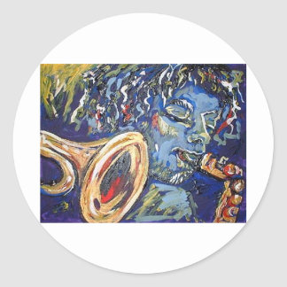 blowing horns blues round stickers