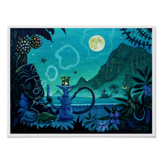 'Blowing Smoke on the Turquoise Coast' tiki print
