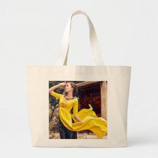 Blowing wind large tote bag