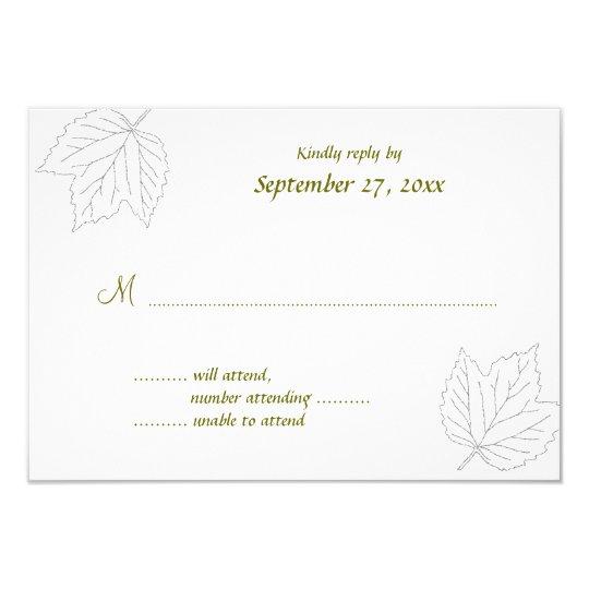 Blown Away Maple Leaves RSVP Wedding Card