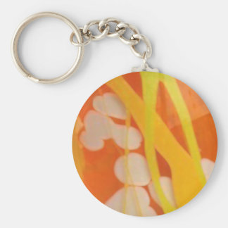 Blown glass detail orange-yellow-chartreuse-white keychain