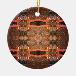 Blown Glass Double-Sided Ceramic Round Christmas Ornament