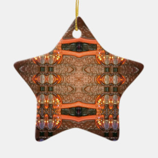 Blown Glass Double-Sided Star Ceramic Christmas Ornament