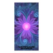 Blown Glass Flower of an ElectricBlue Fractal Iris Card