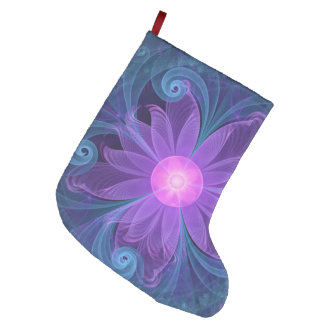 Blown Glass Flower of an ElectricBlue Fractal Iris Large Christmas Stocking
