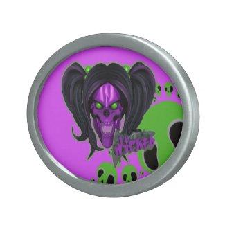 Blox3dnyc.com Wicked lady design.Green/Purple Belt Buckle
