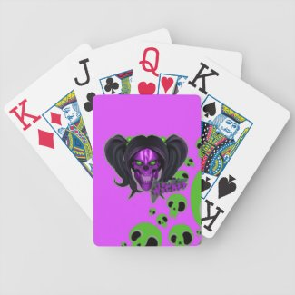 Blox3dnyc.com Wicked lady design.Green/Purple Bicycle Playing Cards
