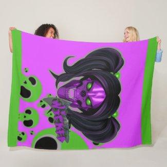 Blox3dnyc.com Wicked lady design.Green/Purple Fleece Blanket