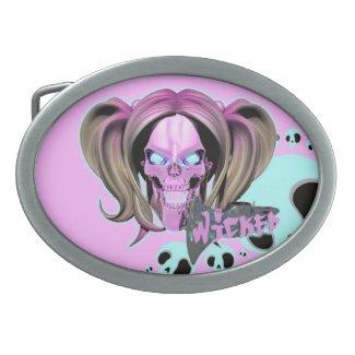 Blox3dnyc.com Wicked lady design.Pink/Light Cyan Belt Buckle