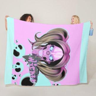 Blox3dnyc.com Wicked lady design.Pink/Light Cyan Fleece Blanket