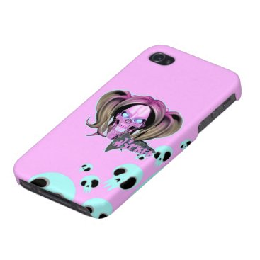 Blox3dnyc.com Wicked lady design.Pink/Light Cyan Case For iPhone 4