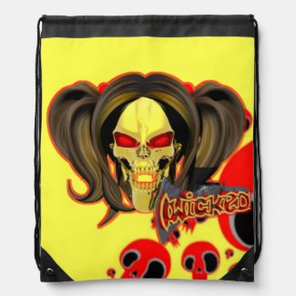 Blox3dnyc.com Wicked lady design.Red/Yellow Drawstring Backpack