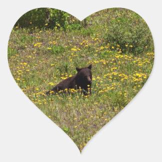 BLST Black Bear Snack Time Heart Sticker