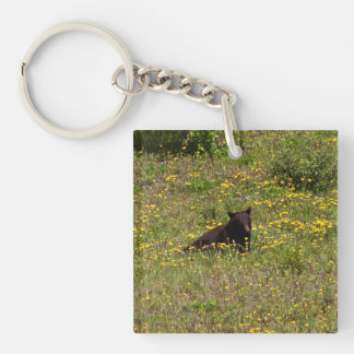 BLST Black Bear Snack Time Single-Sided Square Acrylic Keychain