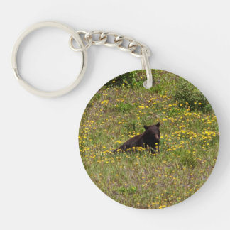BLST Black Bear Snack Time Single-Sided Round Acrylic Keychain