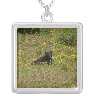 BLST Black Bear Snack Time Square Pendant Necklace