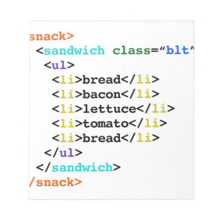 BLT HTML Funny Geek Sandwich Notepad