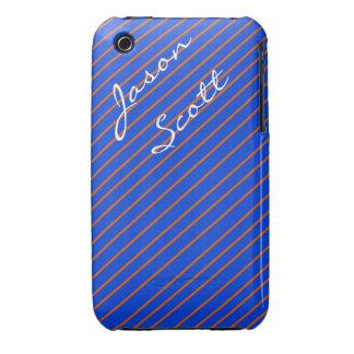Blu and Orange Stripe iPhone Case