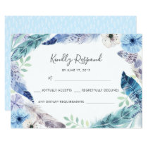 Blu boho feather Watercolor RSVP cards
