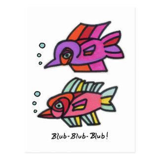 Blub Fish Pair Post Cards
