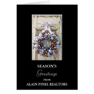 Blub wreath, SEASON'S, Greetings, FROM, ALAIN P... Greeting Cards