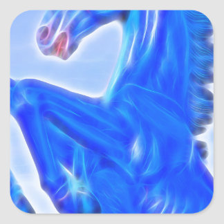 Blucifer The Rearing Blue Mustang Horse.jpg Square Sticker